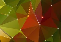 Abstracte achtergrond met driehoekige vormen en glanzende cirkels Stock Foto
