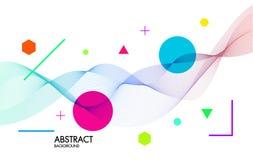 Abstracte achtergrond met dynamische lineaire golven Voor ruimtetekst kleurrijke Vectorillustratie Stock Foto's