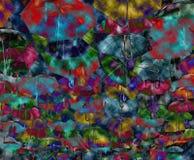Abstracte achtergrond met gekleurde en open paraplu's royalty-vrije illustratie