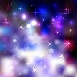 Abstracte achtergrond met glanzende sterren en cirkels stock illustratie