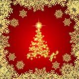 Abstracte achtergrond met gouden Kerstmisboom, sneeuwvlokken en sterren Illustratie in rode en witte kleuren stock illustratie
