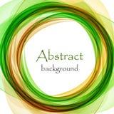 Abstracte achtergrond met groene en oranje golf in de vorm van een cirkel stock illustratie