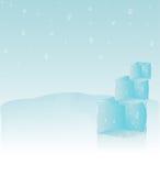 Abstracte achtergrond met ijsblokjes en waterdalingen Stock Afbeeldingen