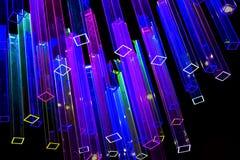 Abstracte achtergrond met lichte neonprisma's Stock Afbeelding