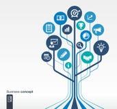 Abstracte achtergrond met lijnen, cirkels, vlakke pictogrammen Het concept van de de groeiboom voor zaken, mededeling, marketing  stock illustratie