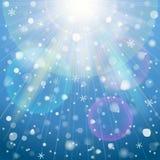 Abstracte achtergrond met luchtverlichting en sno Stock Foto