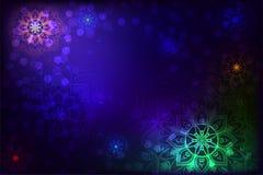 Abstracte achtergrond met mandala en sneeuwvlok royalty-vrije stock foto