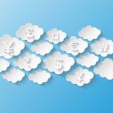 Abstracte achtergrond met muntsymbolen Stock Fotografie