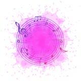 Abstracte achtergrond met muzieknota's in een cirkel van roze plons royalty-vrije illustratie