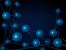 Abstracte achtergrond met nanotechnol van het structuur wireframe netwerk royalty-vrije illustratie