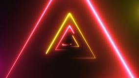 Abstracte achtergrond met neondriehoeken stock video