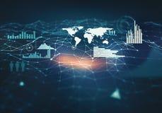Abstracte achtergrond met netwerktechnologieën Royalty-vrije Stock Afbeeldingen