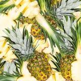Abstracte achtergrond met plakken van verse ananas Naadloos patroon voor een ontwerp Close-up Stock Foto