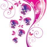 Abstracte achtergrond met roze altviool en vlinder. Royalty-vrije Stock Afbeelding
