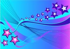 Abstracte Achtergrond met sterren en golven Stock Fotografie