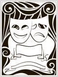 Abstracte achtergrond met theatermaskers Stock Afbeeldingen
