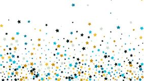 Abstracte Achtergrond met Vele Willekeurige Dalende Gouden Sterrenconfettien op Achtergrond Stock Foto