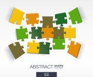 Abstracte achtergrond met verbonden kleurenraadsels, geïntegreerde elementen 3d infographic concept met mozaïekstukken in perspec Stock Fotografie