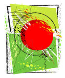Abstracte achtergrond met vierkanten en krabbels Stock Foto