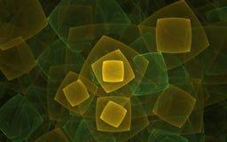 Abstracte achtergrond met vierkanten van gele en groene kleuren van verschillende die grootte op elkaar wordt toegevoegd vector illustratie