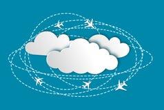 Abstracte achtergrond met vliegtuigen en wolken vector illustratie