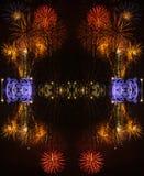Abstracte Achtergrond met vuurwerk tijdens de viering van Sao Jose van de Vadersdag stock afbeeldingen
