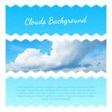 Abstracte achtergrond met wolken Het Ontwerpmalplaatje van de vliegerlay-out Stock Foto