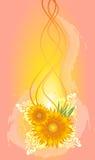 Abstracte achtergrond met zonnebloemen Royalty-vrije Stock Foto