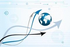 Abstracte achtergrond - pijlen en bol stock illustratie