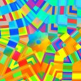 Abstracte achtergrond in regenboogkleuren Concentrische Gele Mandala Multicolored mozaïek Digitaal Art Collage Caleidoscopisch on Royalty-vrije Stock Afbeeldingen