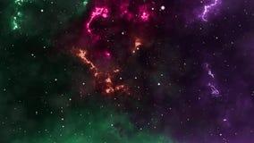 Abstracte achtergrond, ruimte, die door multicolored nevels en sterren vliegen, dynamisch, royalty-vrije illustratie