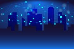 Abstracte Achtergrond, schaduwen, blauwe gebouwen met Connectiviteitsnetwerk stock illustratie