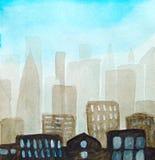 abstracte achtergrond Silhouet van de stad in een nevel en met een blauwe hemel, lichte vensters, waterverf royalty-vrije illustratie