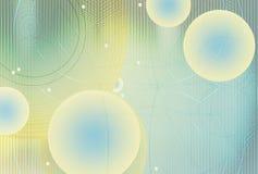 abstracte achtergrond Technologie van het netwerk en het gebied van meetkunde Gloeiende gebieden, gebogen lijnen en punten futuri stock illustratie