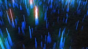 Abstracte achtergrond van blauwe lichtgevende blokken stock video