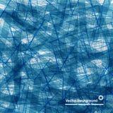 Abstracte achtergrond van blauwe lijnen en vlekken in willekeurige orde Stock Afbeelding