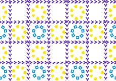 Abstracte achtergrond van bloemen in een kooi Bloemblaadjes van de vormen van vierkanten en harten Het net is controletekens royalty-vrije illustratie