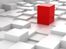 Abstracte achtergrond van 3d blokken en rode kubus Stock Foto's