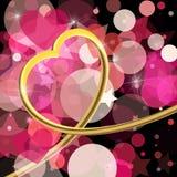 Abstracte achtergrond van de dag van de Valentijnskaart \ 's Gouden 3d hart Vecto Stock Fotografie
