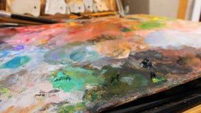 Abstracte achtergrond van de olieverven multicolored close-up stock footage