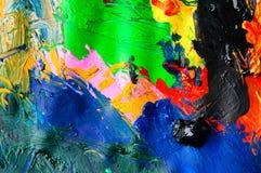 Abstracte achtergrond van de olieverven multicolored close-up van hierboven Stock Afbeeldingen