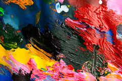 Abstracte achtergrond van de olieverven multicolored close-up van hierboven Stock Foto