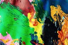 Abstracte achtergrond van de olieverven multicolored close-up van hierboven Royalty-vrije Stock Afbeeldingen