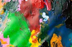 Abstracte achtergrond van de olieverven multicolored close-up van hierboven Royalty-vrije Stock Foto