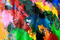 Abstracte achtergrond van de olieverven multicolored close-up van hierboven Royalty-vrije Stock Fotografie