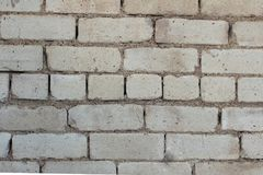 Abstracte achtergrond van een fragment van de lege schone muur van rechthoekige witte silicaatbaksteen Textuur zeven volledige re Royalty-vrije Stock Foto's