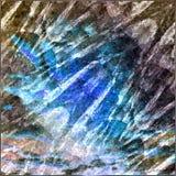 Abstracte achtergrond van kristallen en veelhoeken met een gestileerde raket vector illustratie
