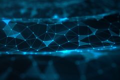 Abstracte achtergrond van lijnen en punten, laag polynetwerk Internet-verbindingentechnologie Concept neurale verbindingen royalty-vrije stock afbeelding
