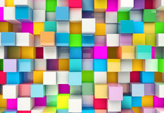 Abstracte achtergrond van multi-colored kubussen Royalty-vrije Stock Afbeeldingen