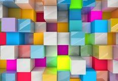 Abstracte achtergrond van multi-colored kubussen Royalty-vrije Stock Fotografie
